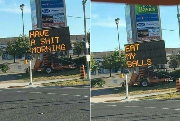 Passive-aggressive road construction - meme