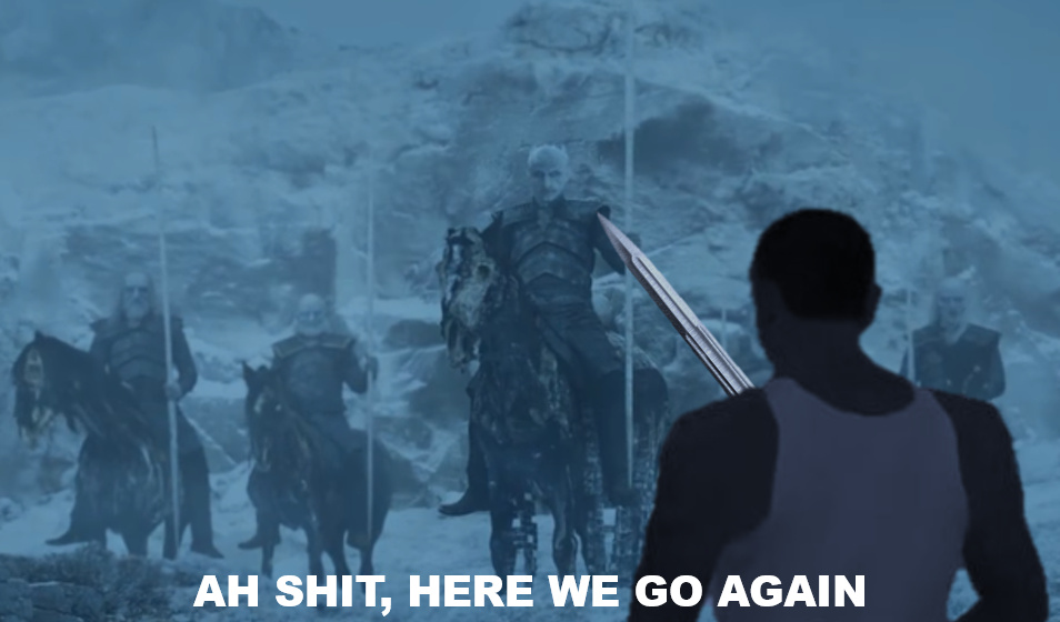 Jon stepping out of Winterfell - meme