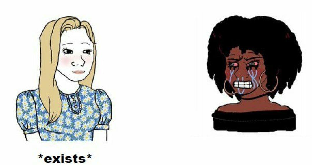 """""""Nós somos feministas negras porque também somos oprimidas pelas mulheres brancas e todo homem negro deve se relacionar com mulheres negras se não vamos encher o saco dele chamando-o de palmiteiro"""" - meme"""