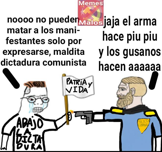 The virgin ciudadano cubano ardido porque le quitan la luz todo el día vs the chad policía corrupto asesino - meme