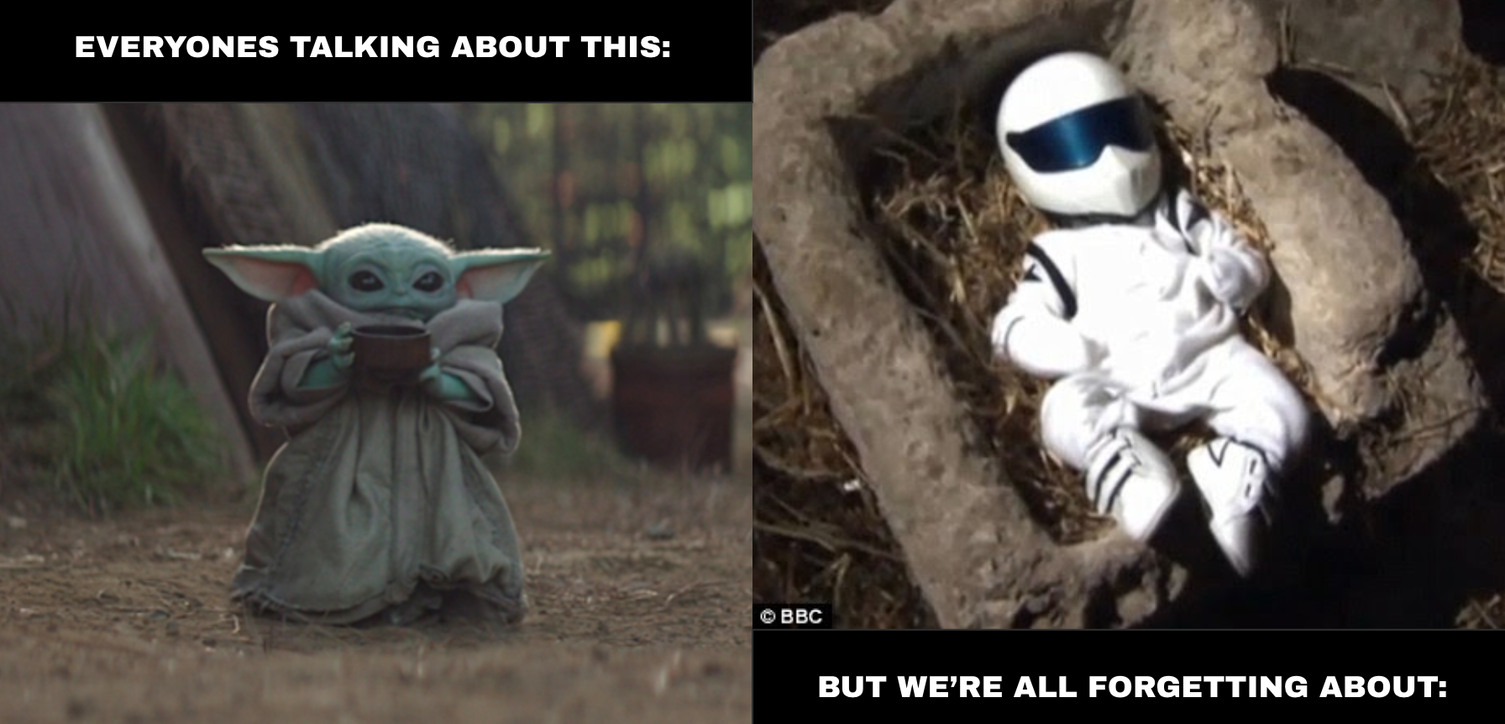 Baby Yoda and baby Stig - meme