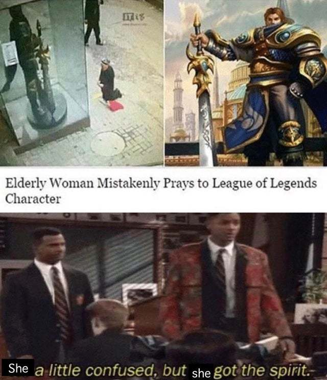 Elderly woman mistakenly prays to League of Legends character - meme