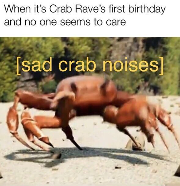 When it's Crab Rave's first birthday and no one seems to care - meme