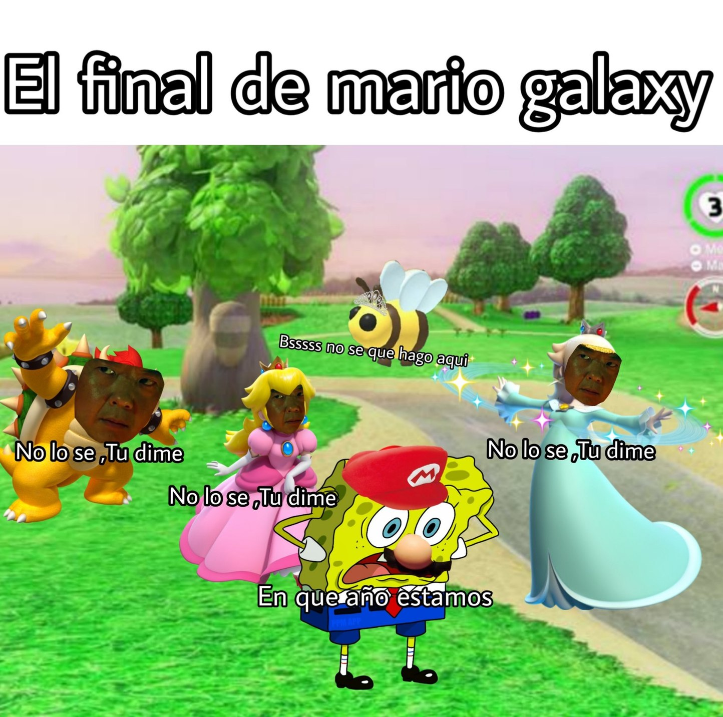 El final de mario galaxy - meme