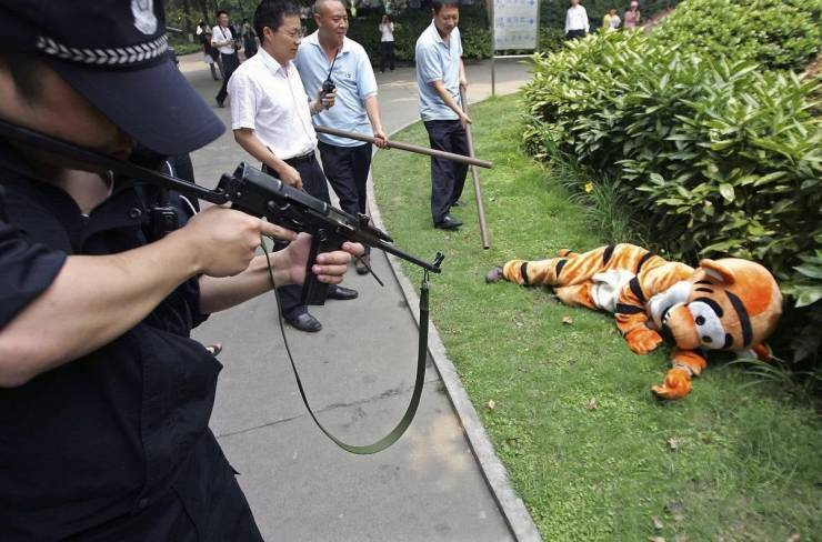 Hope the guy with the gun doesn't get Tigger happy. - meme