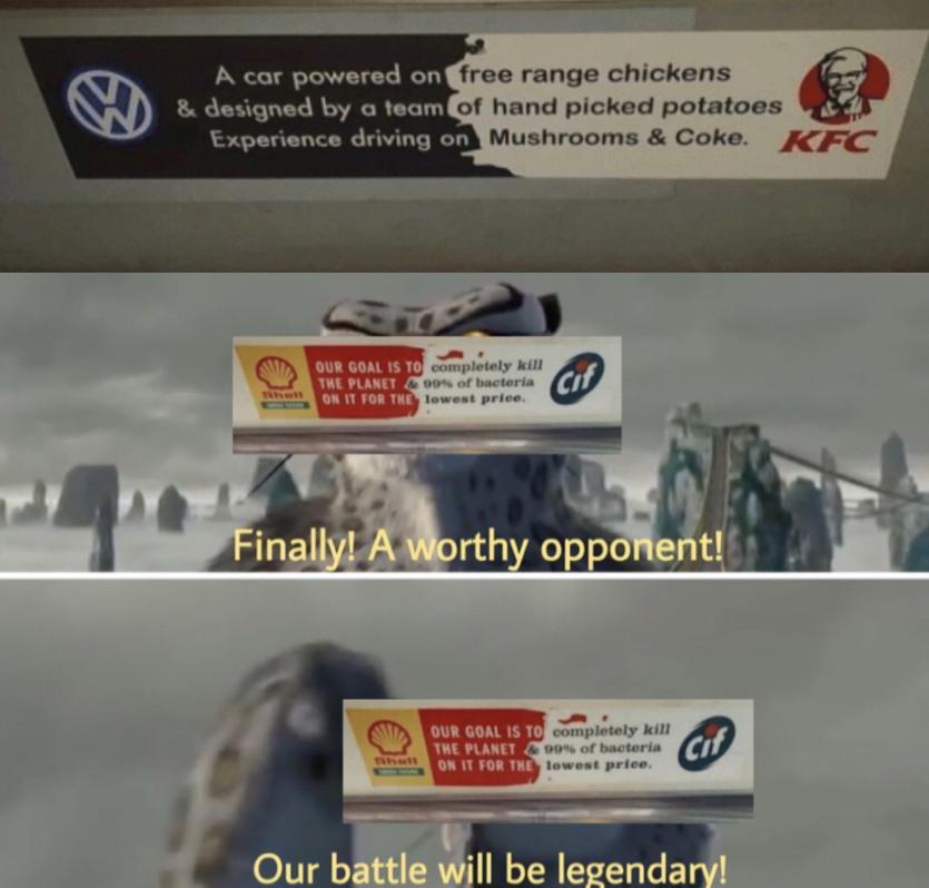 A car powered free range chicken - meme