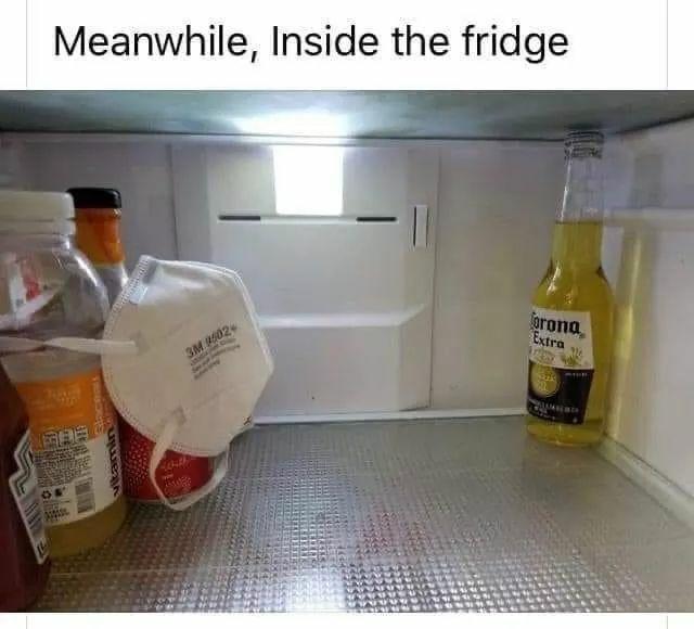 Corona Beer in the fridge be like - meme