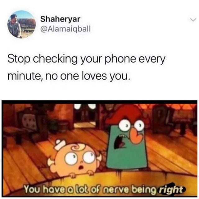 Stop checking your phone every minute, no one loves you - meme