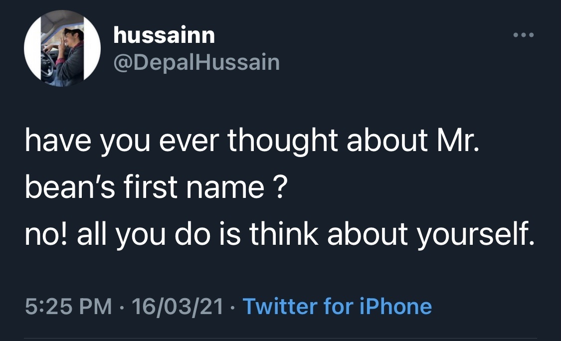 what was bean's first name tho ? - meme