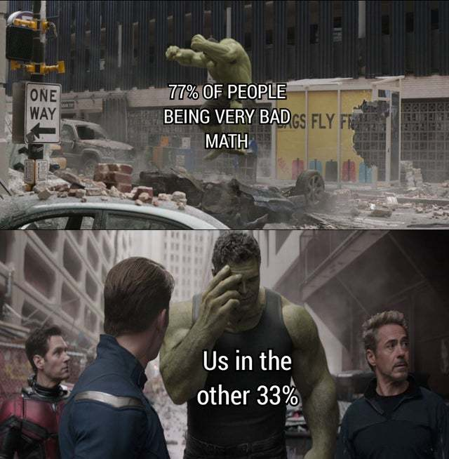 77% of people are very bad in Math - meme