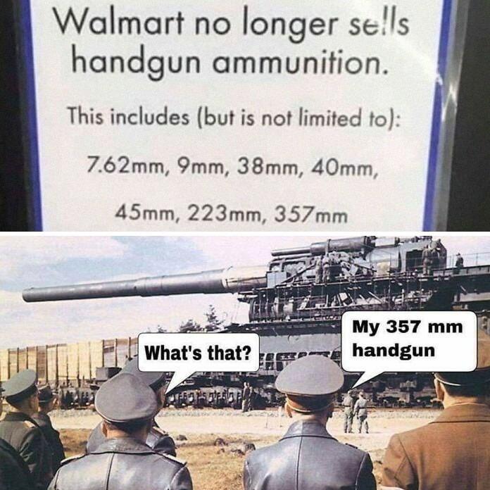 Tis just a hand gun - meme