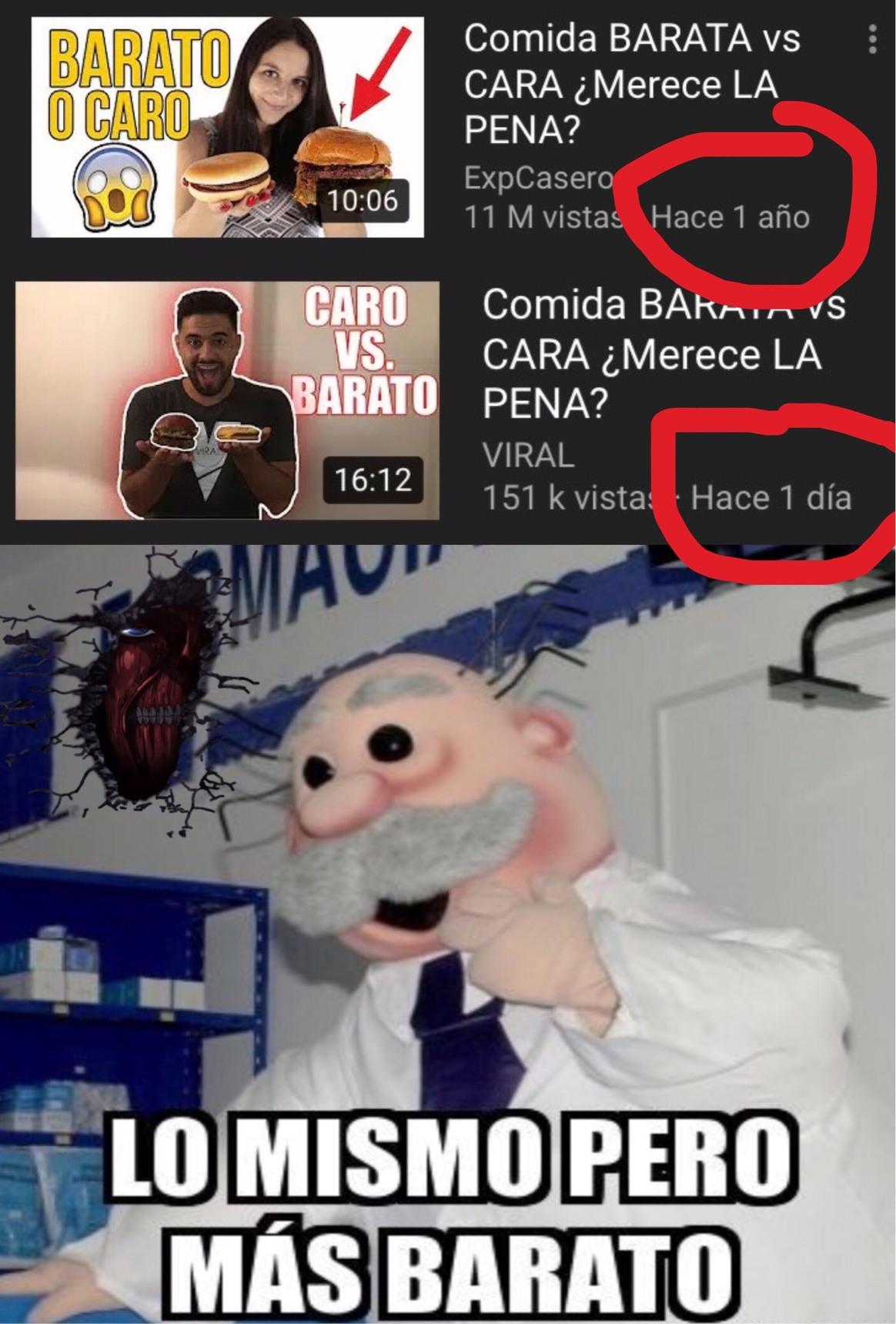 Ni parecidos los videos - meme