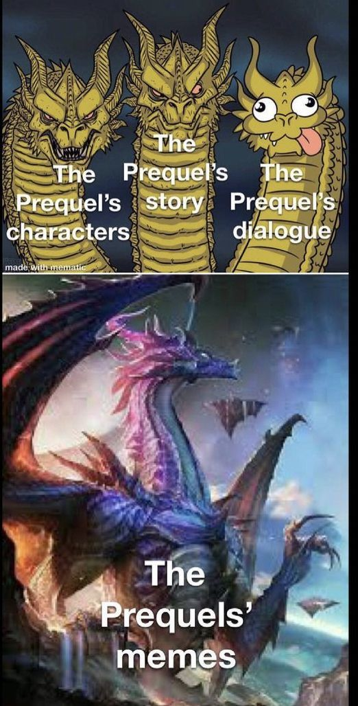People only hate the Prequels because of the dialogue .....and acting - meme
