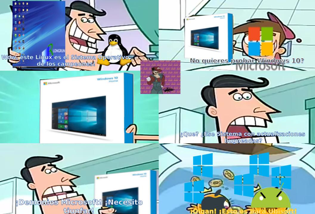 Este Winbugs 10 (Por cierto, yo cree esa Distro de Linux que tiene el padre de Timmy, se llama LONGRUN) - meme