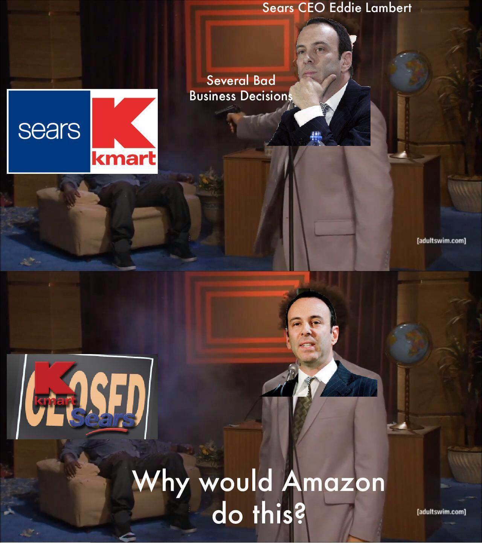 Eddie Lampert killing Sears/Kmart - meme