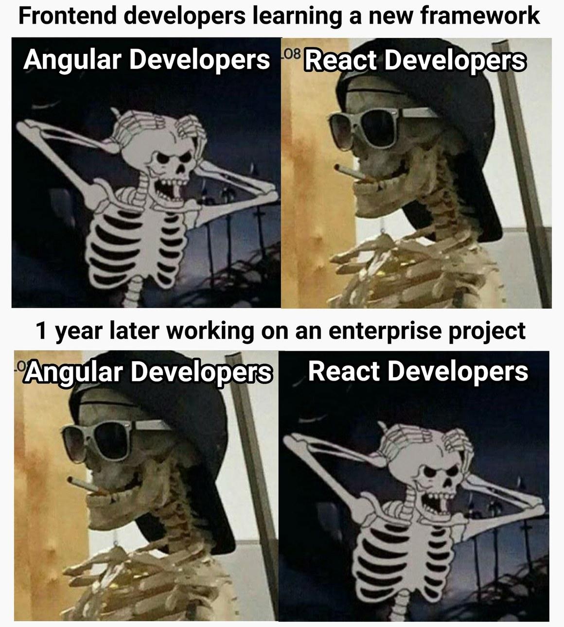 Angular vs React in a nutshell - meme
