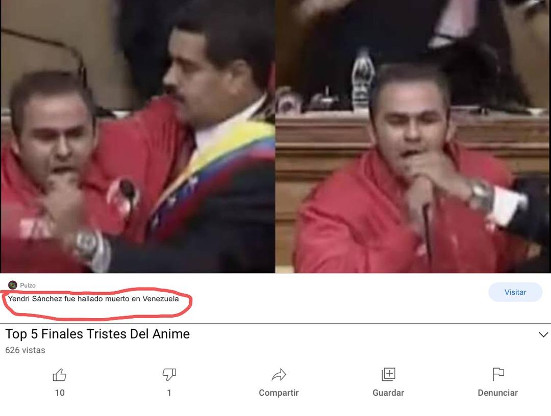 Apenas me entero que Yendry Sánchez el que hizo el meme de Nicolás me llamo yendri