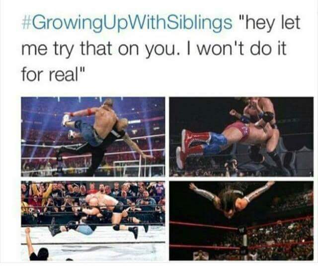 Growing up with siblins - meme