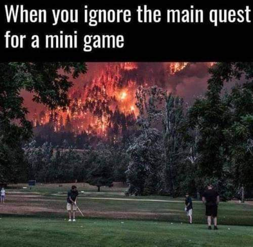 When you ignore the main quest for a mini game - meme