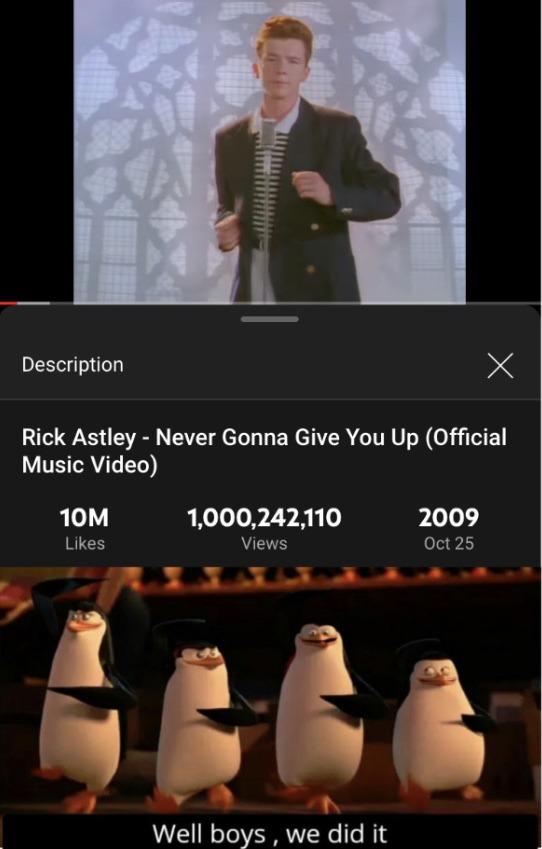 1 billion views, what a momentous occasion - meme
