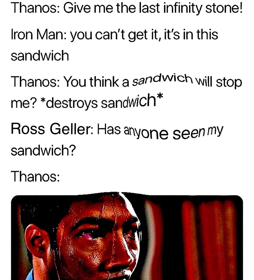 Oh no Thanos you're about to face Ross' rage quick leave while you can oh lord he's coming Red Ross is coming goodbye Thanos you will be missed this is so sad now Ross has the infinity gauntlet and he ate all the other friends what can we do oh god - meme