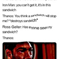 Oh no Thanos you're about to face Ross' rage quick leave while you can oh lord he's coming Red Ross is coming goodbye Thanos you will be missed this is so sad now Ross has the infinity gauntlet and he ate all the other friends what can we do oh god