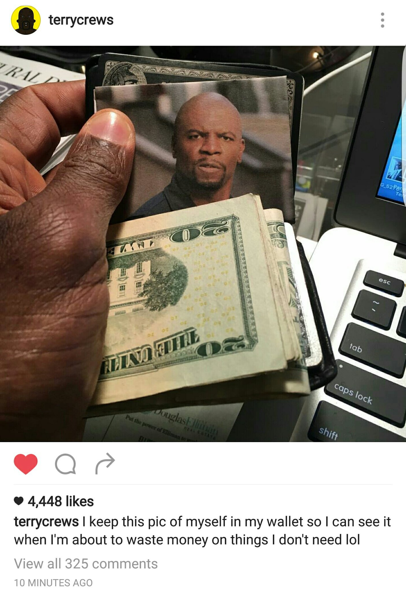 Terry Crews keeps a Terry Crews in his wallet - meme