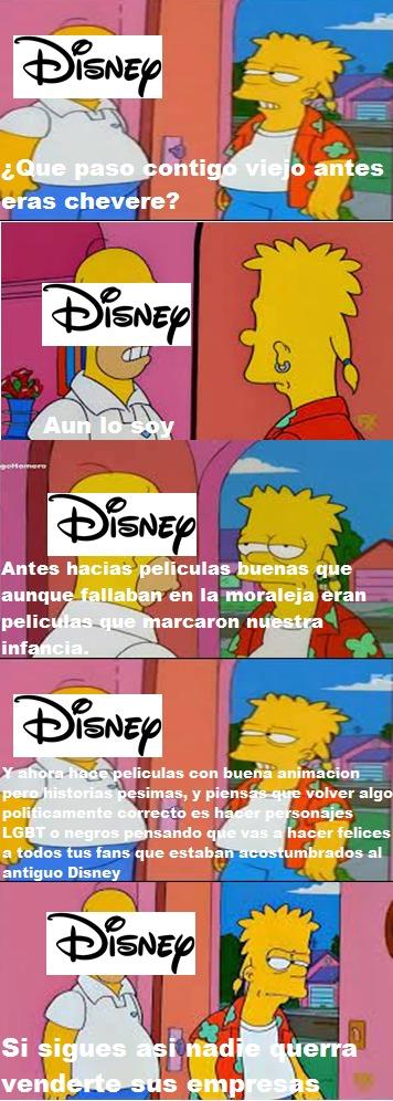 Si o no antes eras chevere Disney porque cambiaste tanto :( PD: Mucho texto pero era para especificar lo malo que es Disney ahora - meme
