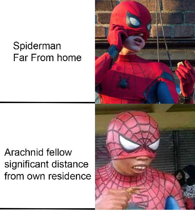 arachnid fellow significant distance from own residence - meme