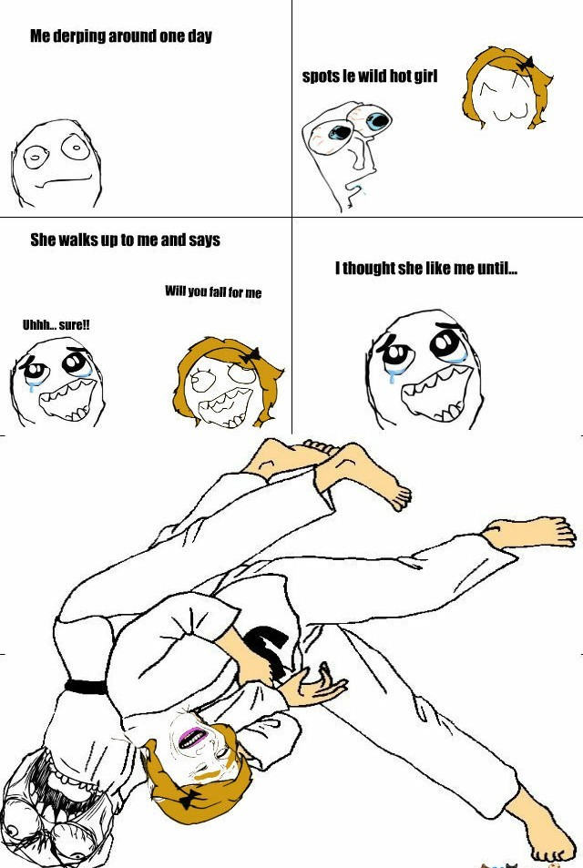 Don't ask out a girl who's in Judo - meme