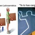 """Contexto: Mientras que en países de habla hispana como latinoamérica, """"Te lo has Cargado"""" es Poner un peso sobre una persona, animal o vehículo para transportarlo, en España es Asesinato."""