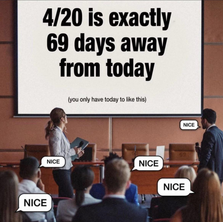 4/20 69 dayz awayy - meme