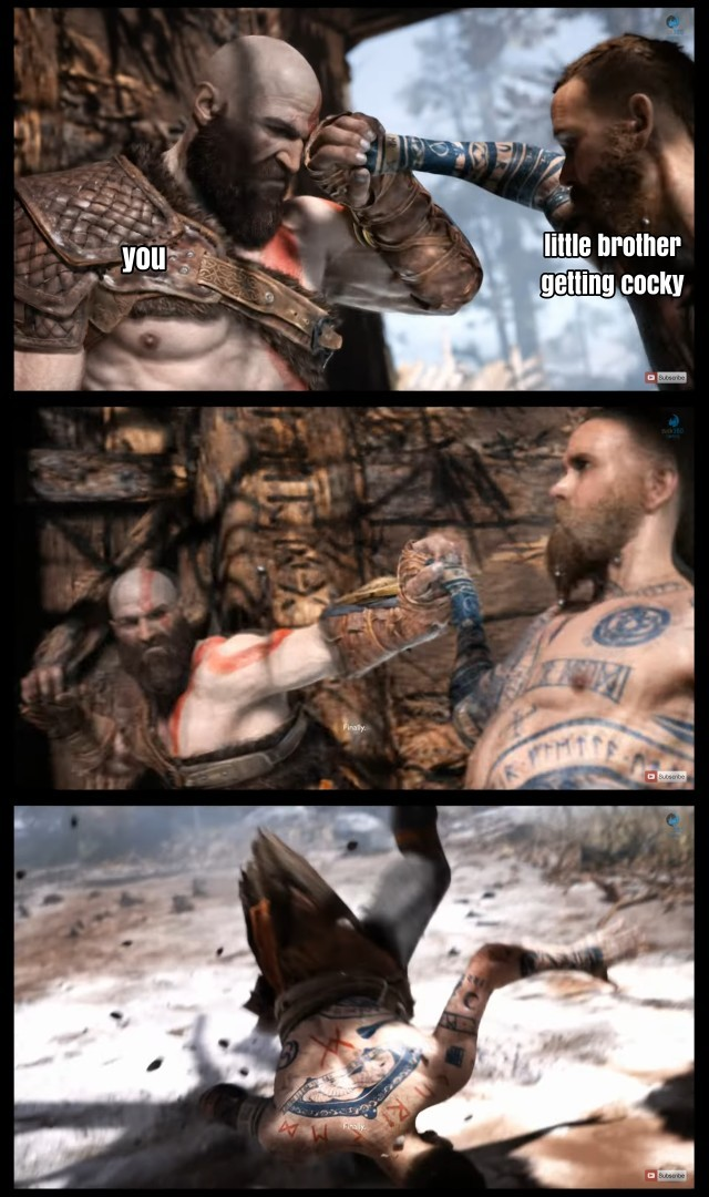 My little brother was replaying it on gow difficulty and came up with this. Enjoy - meme