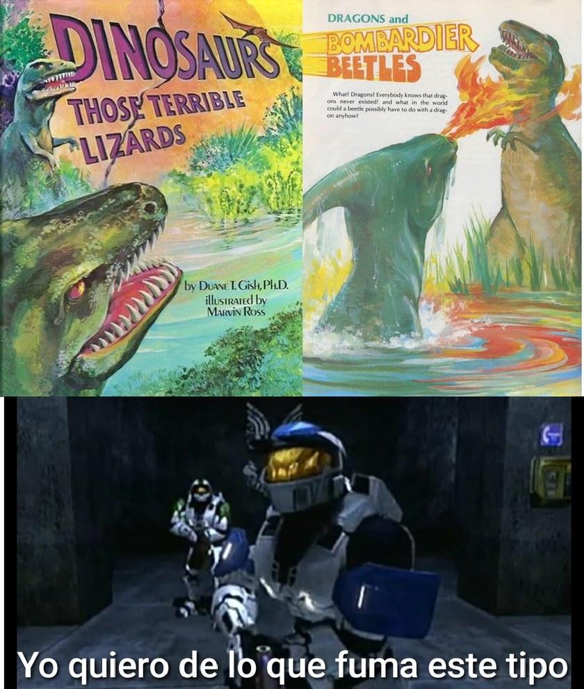 Contexto: Hubo una teoría en la que el Parasaurolophus escupia fuego como los dragones para defenderse de sus depredadores. - meme
