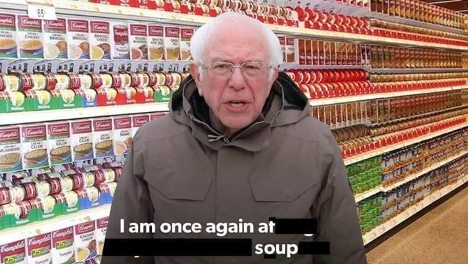 Bernie is at soup - meme