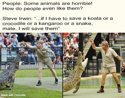 In loving memory of Steve Irwin. (It's a quote he said) - meme