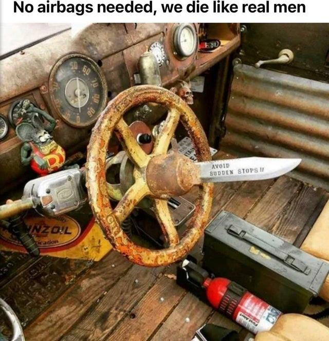 No airbags needed, we die like real men - meme