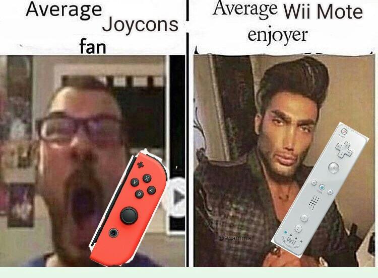 Lo Joycons con los problemas del drift y el Wii Mote literalmente podias llevar tus Mii - meme