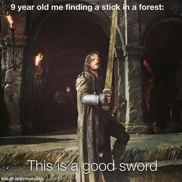 22 yr old me finding a stick in the forest - meme