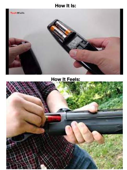 TV Remote = Loading Shotgun - meme