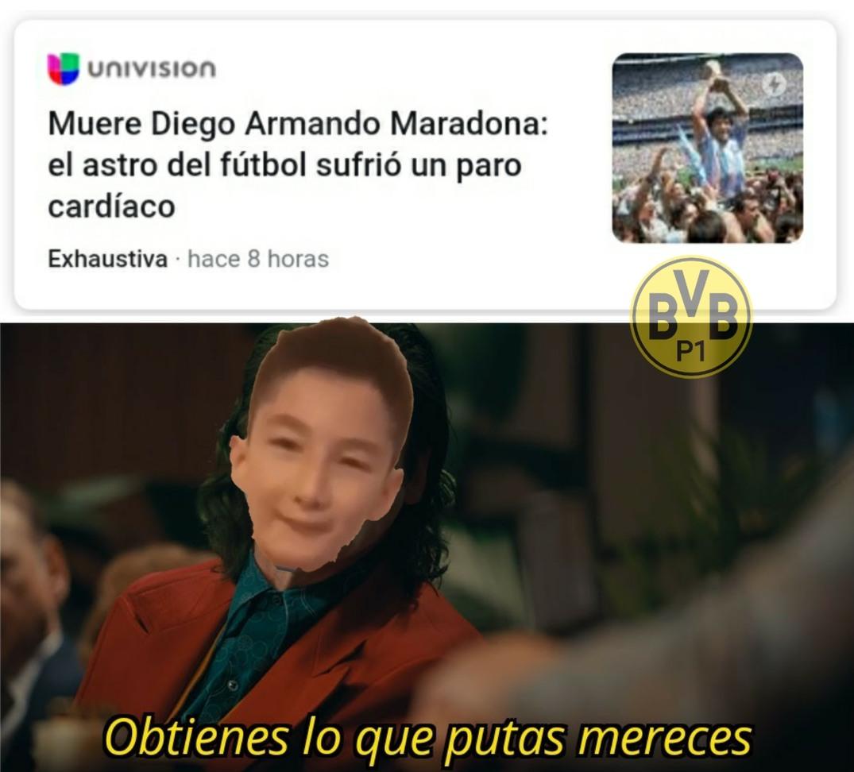 Contexto: Ese es el niño discapacitado que recibió gol del Diego - meme