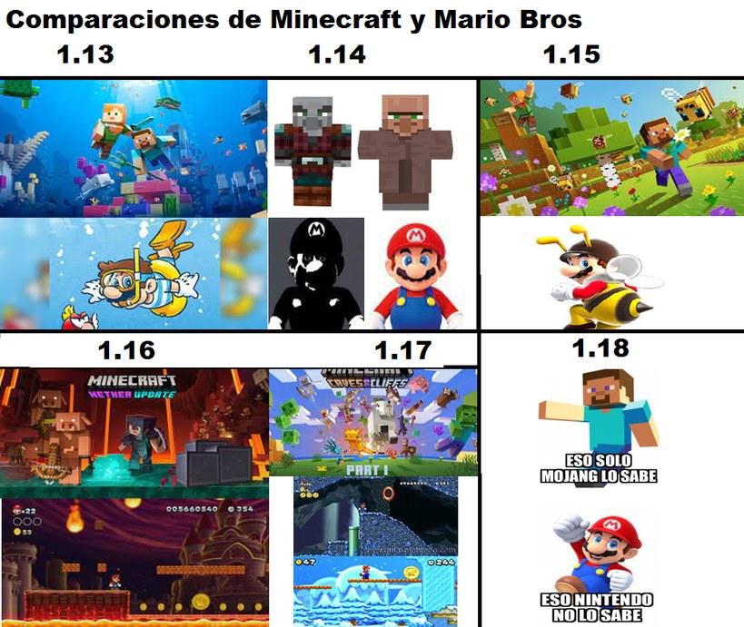 Comparaciones de Minecraft y Mario Bros - meme