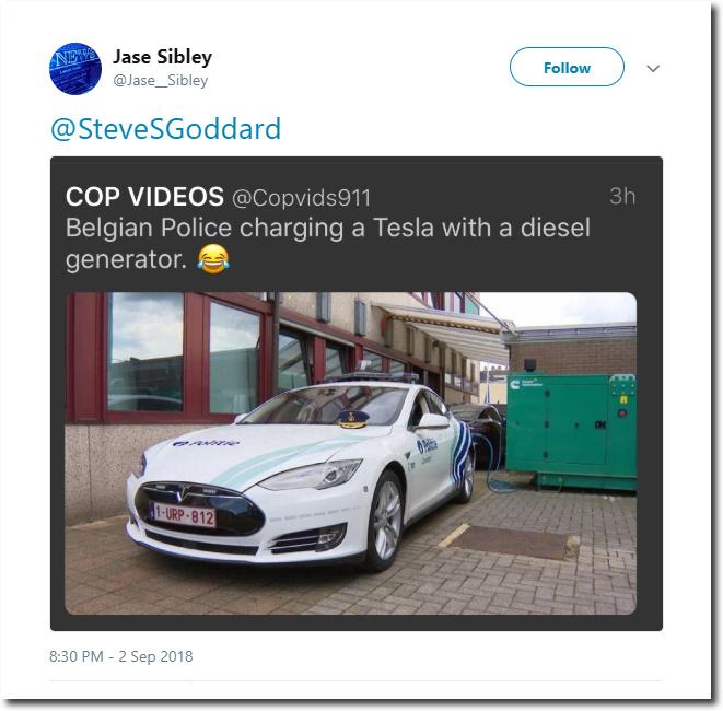 Belgian Police charging a Tesla with a diesel generator - meme
