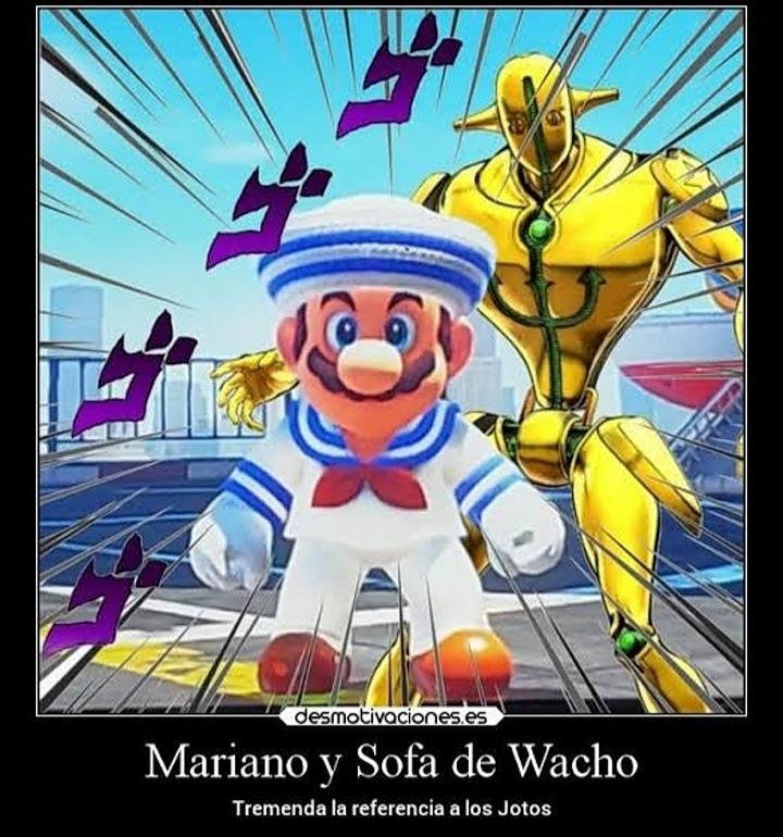 Para el que no entendió Mario se parece a Josuke de la parte 8 y el de atrás es us stand soft and wet - meme