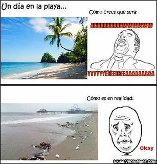 Cuideeeeen al planeta porque las playas quedan asi - meme
