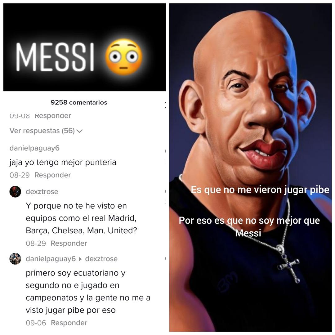 Contexto: dice que tiene mejor puntería que Messi - meme