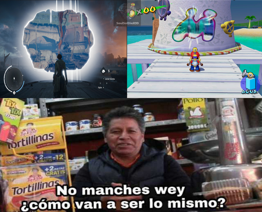 AC Syndicate / Mario Sunshine Dos buenos juegos - meme