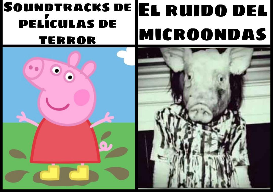 Soundtracks de películas de terror vs el ruido del microondas - meme