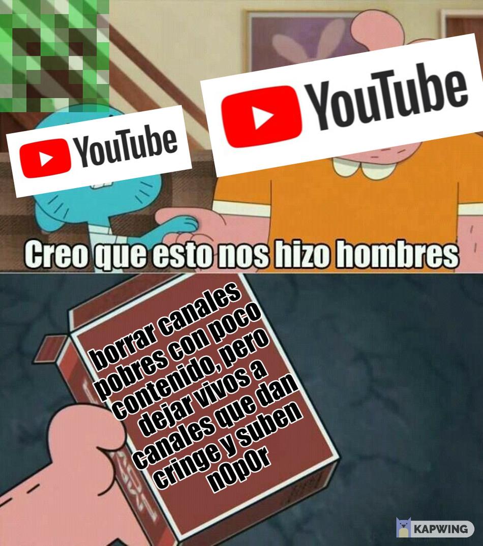 youtube es injusto, por lo que estoy borrando mi contenido y canal para mudarme a otras plataformas - meme