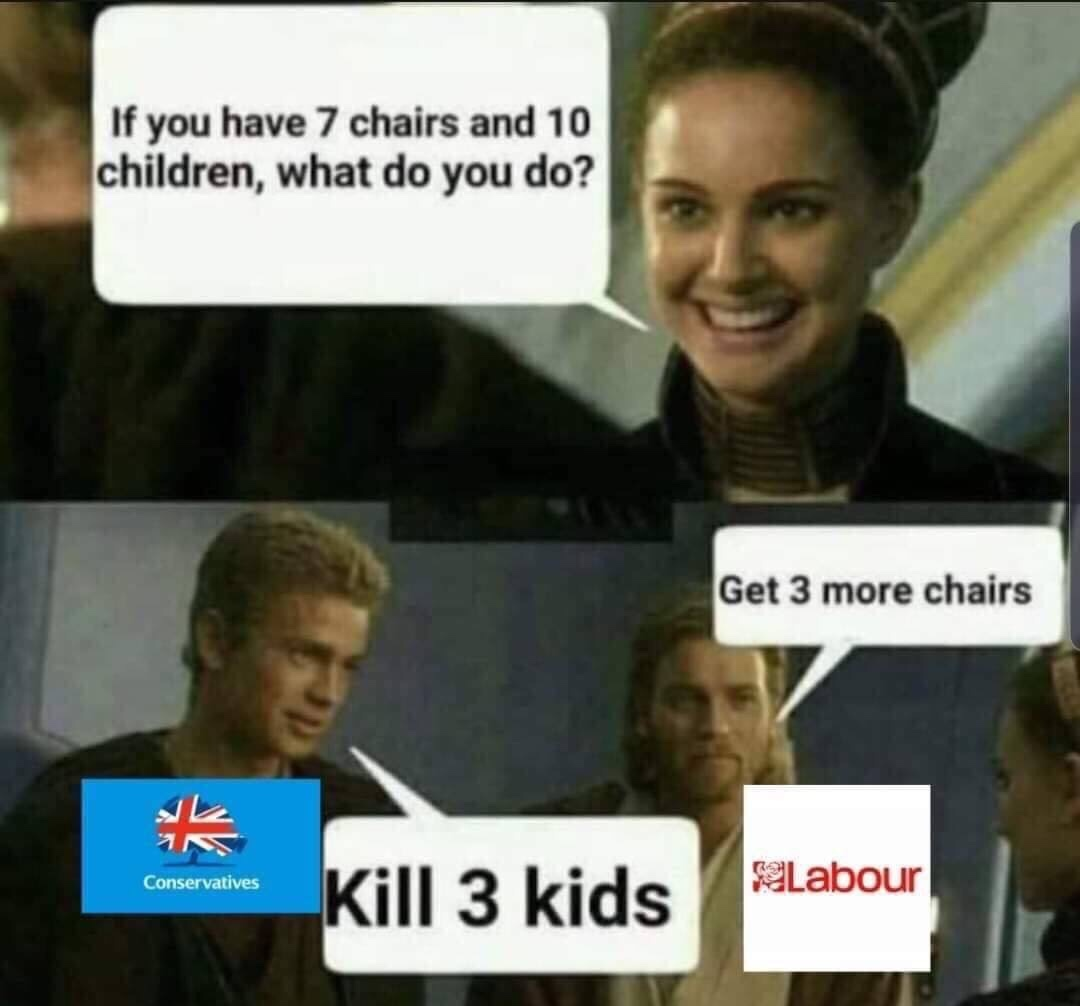 10 kids and 7 chairs - meme